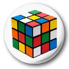 1 inch / 25mm Button Badge - RUBIKS CUBE design - 80's Brain Game Retro Novelty