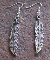 Feder Ohrhänger neu Silberfarben Ohrringe Feather Earring Anhänger Damen