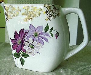 "Vintage Lord Nelson 5"" Angular Pitcher Gold Gilded Lavender Floral England"