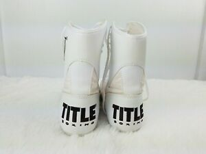 TITLE Boxing Shoes High Top BoyMens Size 6 Euro 38.5White/ Black Logos Lace up