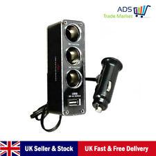 Multi coche cigarrillo encendedor Spliter Socket 3-Way + Cargador USB Adaptador De Corriente