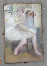 fine art pastel painting on paper canvass Ballerina after Degas Maxime Darley