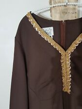 Vintage 60s 70s Brown Full Length Dress Gold Sequins Plus Size