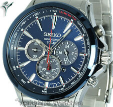 New SEIKO SOLAR CHRONOGRAPH BLUE FACE WITH STAINLESS STEEL BRACELET SSC495P1