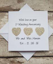 Personalised 1st Wedding Anniversary card - handmade first anniversary card