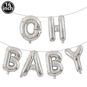 16 Inch Gold Sliver OH BABY Letter Foil Balloon Gender Reveal Baby Shower Decor