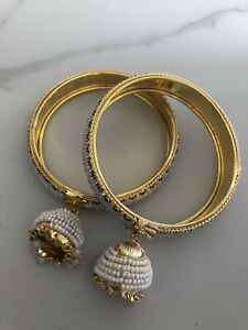 Jhumka Jhumki Karaa / Bangles Multi Colour Stones Pearls Design.  Size 2.4
