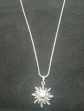 Sun Necklace Pendant on Sterling Silver Chain Sunburst