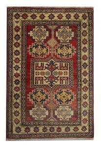 Handmade Carpet Oriental Rug Red Geometric Wool Area Rug - 96x140cm