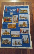Vtg Irish linen tea towel London scenes landmarks chelsea tower st pauls