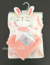 Baby Gear Pink White Bunny Flowers Security Blanket Plush Floral Lovey Set New