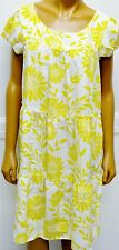 Whitley Pure Silk Dress Yellow White Floral Dress Tiered Sunflowers Size Small