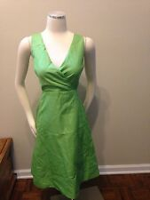 NWT J. Crew Lime Green Surplice Fit Flare Dress Lined 10 Beautiful!