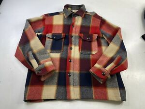 Vintage Woolrich Heavy Wool Flannel Plaid Check Button Shirt Jac USA Large