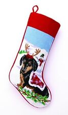 Black and Tan Dachshund Dog Wool Needlepoint Christmas Stocking, 11 x 18 inch
