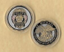 """Saint Michael """"Protect Us"""" Law Enforcement / Police Officer Challenge Coin"""