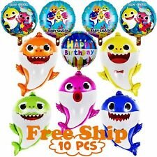 10 Pack Shark Family Helium Foil Balloons Kids Birthday Party Decorations