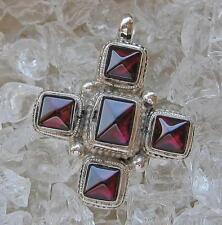 Granatkreuz Kreuz mit Granat Granate Cross in aus 925 Silber Anhänger Antik