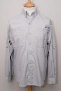 Columbia PFG grey polyester tropics game fly tarpon bone fishing angling shirt S