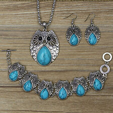 One Set Tibetan silver Owl pendant Blue Turquoise earrings +necklace +bracelet