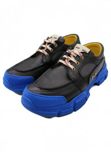 GUCCI 20SS Fresh Track Leather Sneakers Blue Size: 10+ 576048