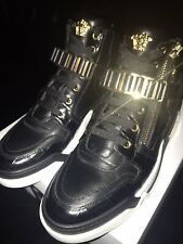 Versace Medusa Sneakers IT41.5 Black White Gold LeatherStrap Brand New In Box