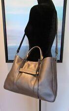 Longchamp Paris 3D Medium Silver Metallic Leather Crossbody Satchel HandBag $925