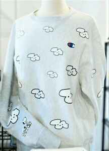 """Story + Peanuts Champion Global Artist Collective """"Allover Cloud"""" Sweatshirt SM"""