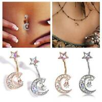 Belly Bars Navel Button Ring Bar Body Piercing Prong Set CZ Gem Surgical Steel