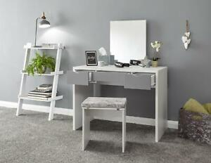 White Dressing Table Desk Set With 3 Grey Drawers Mirror and Velvet Padded Stool