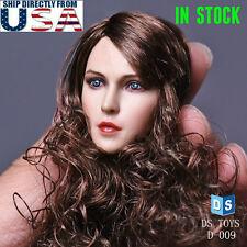 1/6 Female Beauty Head Sculpt Curly Hair B For Hot Toys Phicen Figure U.S.A.