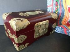 Old Chinese Inlaid Redwood Box …beautiful brass corners & trim