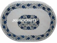 "Oval White Marble Coffee Dining Table Top Lapis Lazuli Inlay 22""x34"" Handicraft"