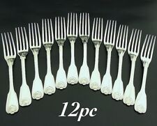 12Pc Early 19C Antique French Sterling Silver Dinner Fork Set 950 Shell Complete