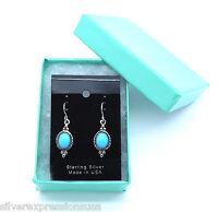 Genuine Sleeping Beauty Turquoise 925 Sterling Silver Dangle Earrings