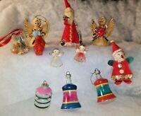 Vintage Christmas Ornaments Bells Wicker Angels Irwin Santa Holiday Lot of 11