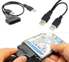 """2.5"""" Hard Disk Drive SATA 22Pin to USB 2.0 Powered Data Cable Adapter For PC UK"""