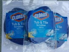 3 CLOROX Tub and Tile Scrubber REFILL Pads NON SCRATCH Antimicrobial BATHROOM