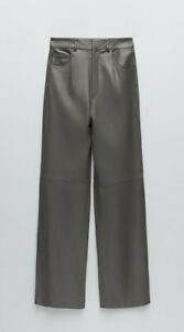 Zara Grey Real Leather High Waisted Trousers, Size XS-BNWT, RP £129
