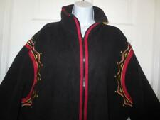 BOB MACKIE Wearable Art Plus BLACK & RED Studded EMBROIDERED JACKET Coat Size 2X