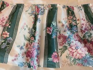 Croscill Discontinued Vtg Granada Green Striped & Pink Floral Bed Skirt/Dust Ruf
