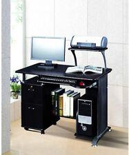 Computer Desk Table Workstation With 2 Storage Cabinet Printer Stand - Black
