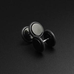 Fake Ear Stretcher Plugs Earrings Black PVD Faux Gauge Plug SIBJ Quality