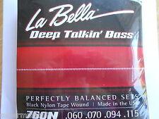 La Bella 760N Black Nylon Tape Wound Bass Guitar Strings - Standard .60 - .115