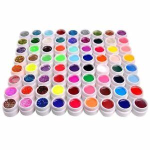 SET 72 Pure /Colorati Glitter Paillettes gel uv Ricostruzione Unghie Nail Art