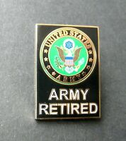 US ARMY RETIRED RECTANGLE LAPEL PIN BADGE 3/4 x 1.2 INCHES