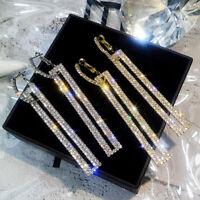 925 Silver Luxury Crystal Geometric Long Dangle Earrings Women Wedding Jewelry