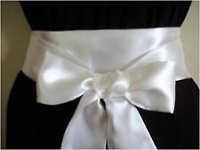 "NEW 2.5""X100"" IVORY SATIN SELF TIE BOW SASH BELT WEDDING UPDATE PROM PARTY DRESS"