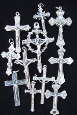 "Lot of 11 Catholic CRUCIFIX medals Rosary size 1 1/2"" to 2 1/2"" metal soil relic"