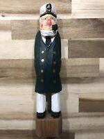 Vintage Hand Carved Wooden Fisherman Captain Sailor Nautical Figure 12' folk art